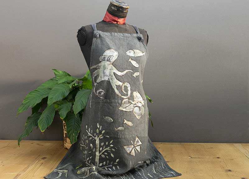 Gray octopus linen kitchen apron