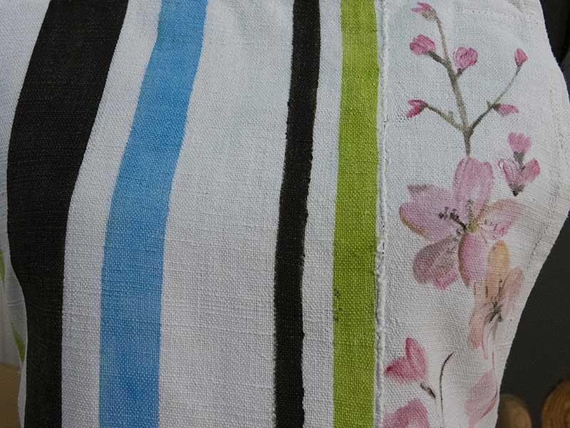 Grembiule canapa righe fiori1