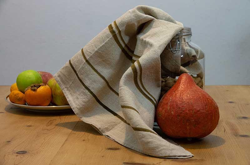 Dishcloth-linen-brown stripes
