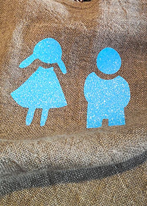 Sky blue glitter shopper a
